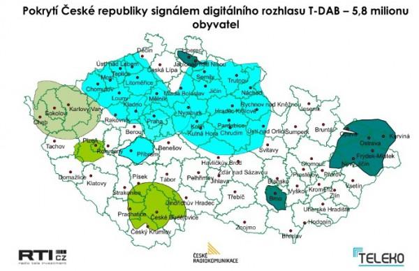 Mapa pokrytí DABu v ČR